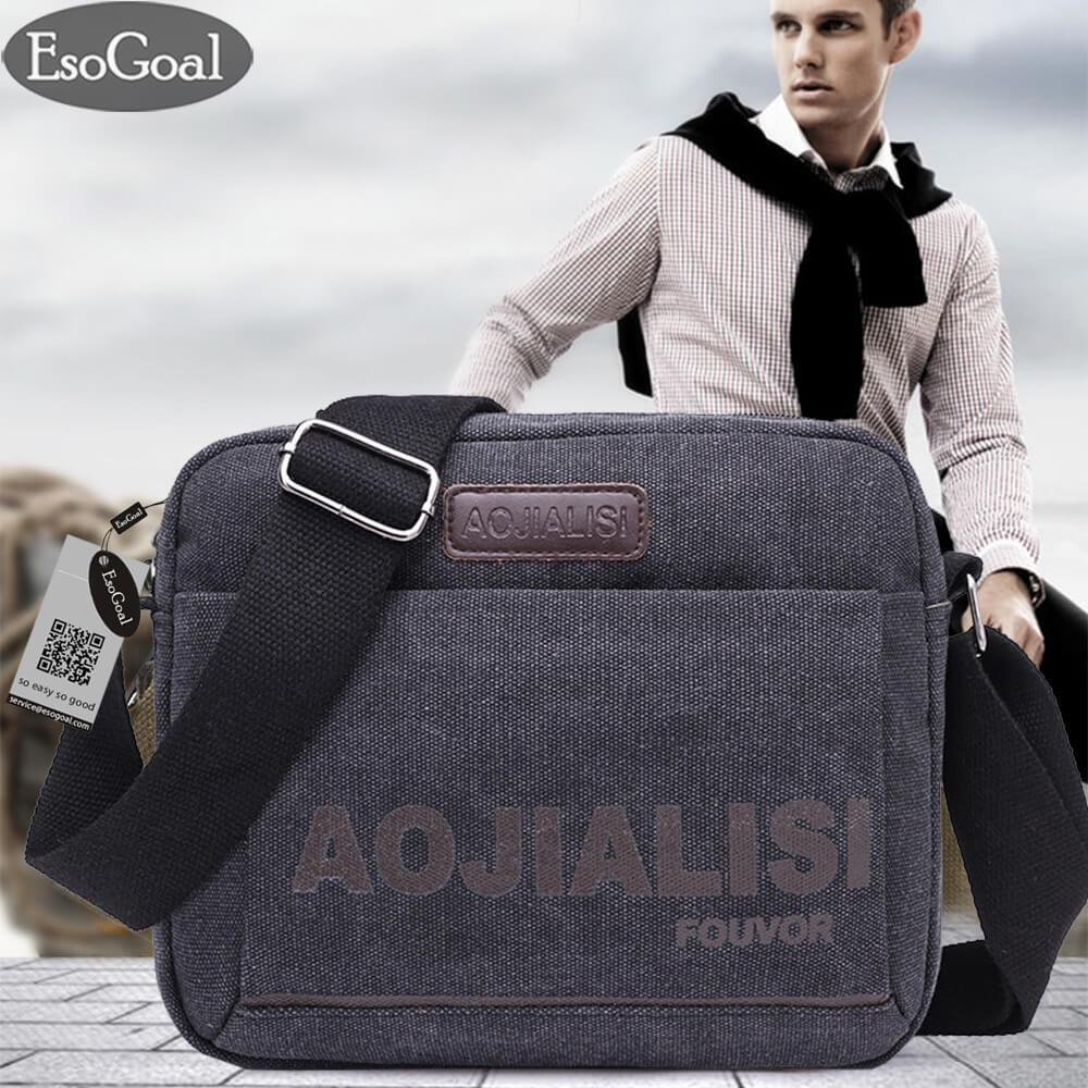 EsoGoal Men Messenger Bag Canvas Small Messenger Bag Casual Shoulder Bag Travel Organizer Bag Multi-pocket Purse Handbag   Crossbody Bags
