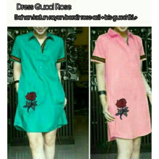 Giselle Dress Gucci Rose@ Bahan Katun Rayon ( Rose Bordir +Bis Gucci ) Fit L+