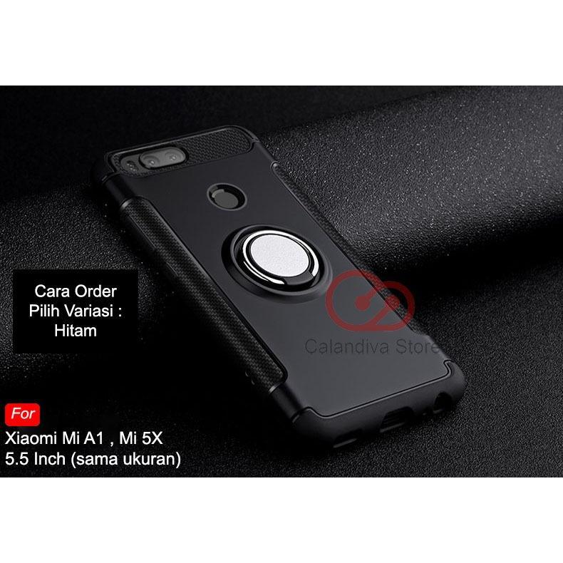 Rp 50.900. Calandiva Ring Carbon Kickstand Hybrid Premium Quality Grade A Case for Xiaomi MI A1, MI 5X ...