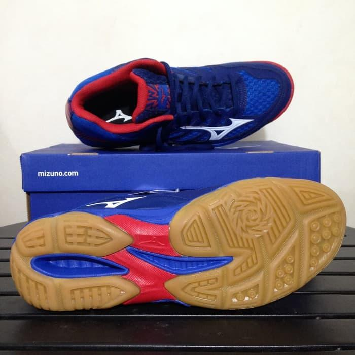 Detail Gambar Sepatu Volley Mizuno Thunder Blade Mid Nautical Blue Red  V1GA187527 Terbaru 42a8d3975a