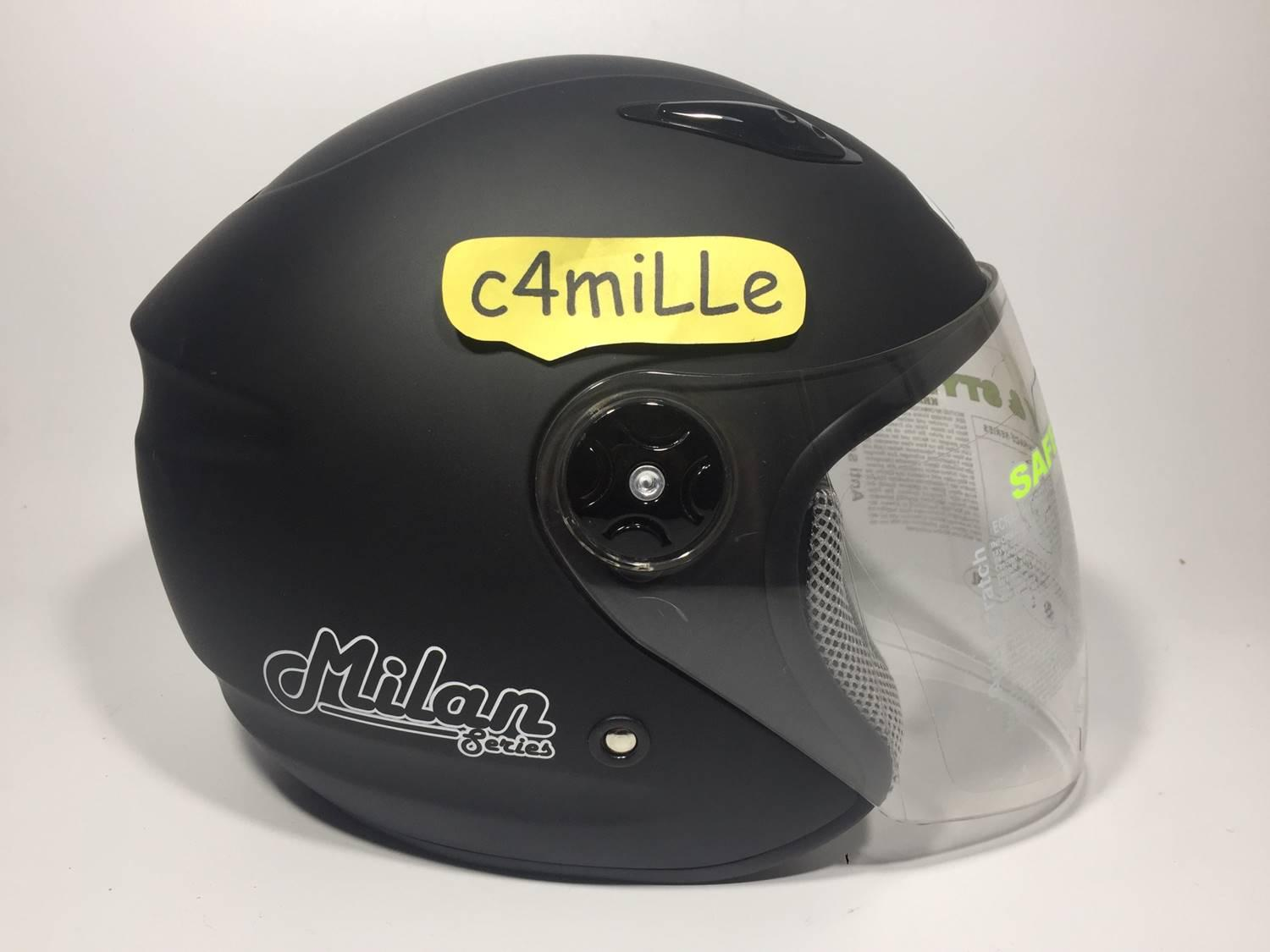 HELM BMC MILAN SOLID BLACK DOFF HALF FACE - 3