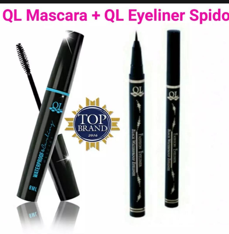 Mascara QL 1pcs + Eyeliner QL spidol 1pcs BPOM waterproof Black