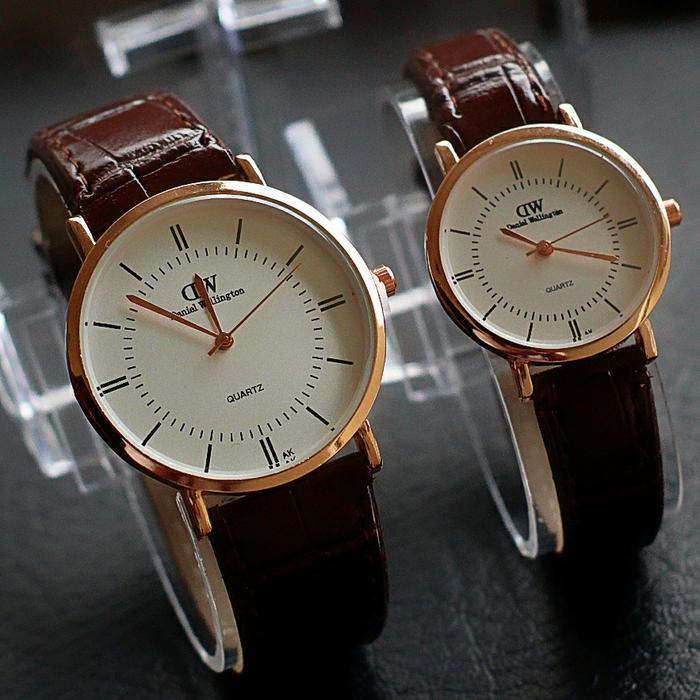 jam tangan couple DW** kulit termurah / jtr 1184 coklat