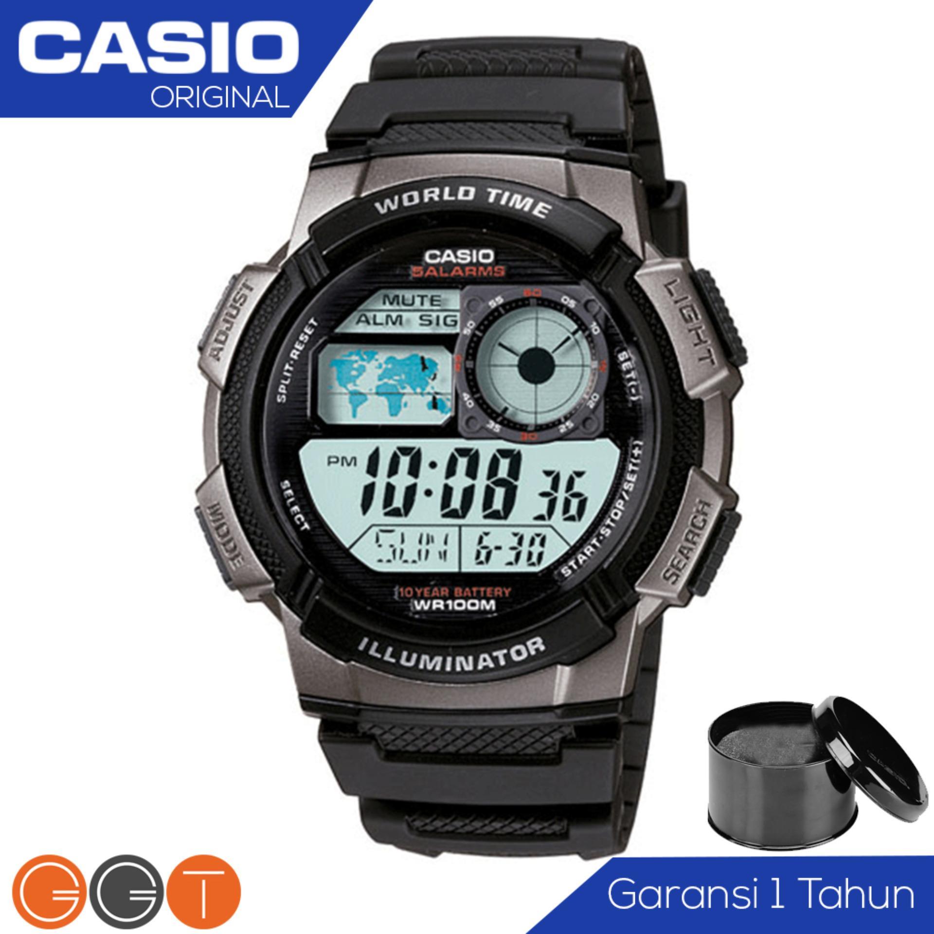 Spesifikasi Casio Illuminator Ae 1000W 1Bvdf Jam Tangan Pria Tali Karet Digital Movement Hitam Silver Lengkap