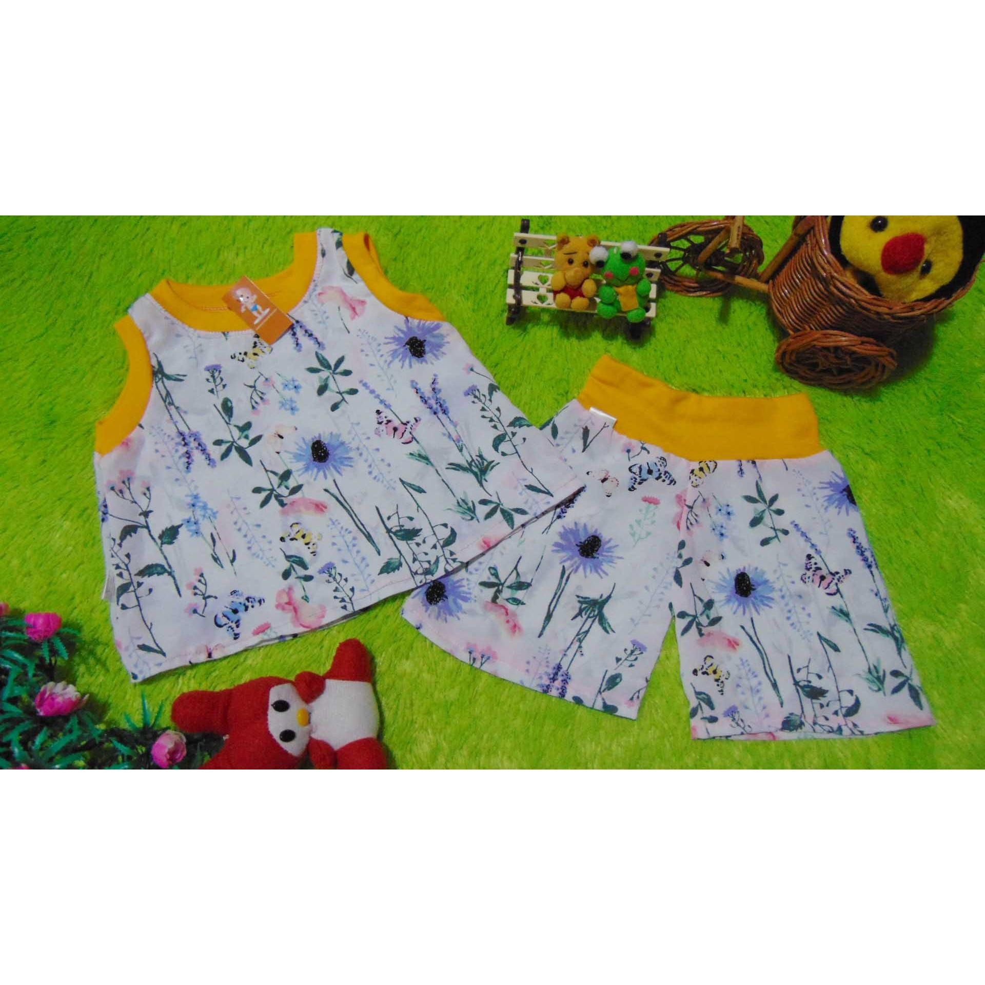 kembarshop - setelan baju santai anak bayi newborn 0-12bulan floral list .
