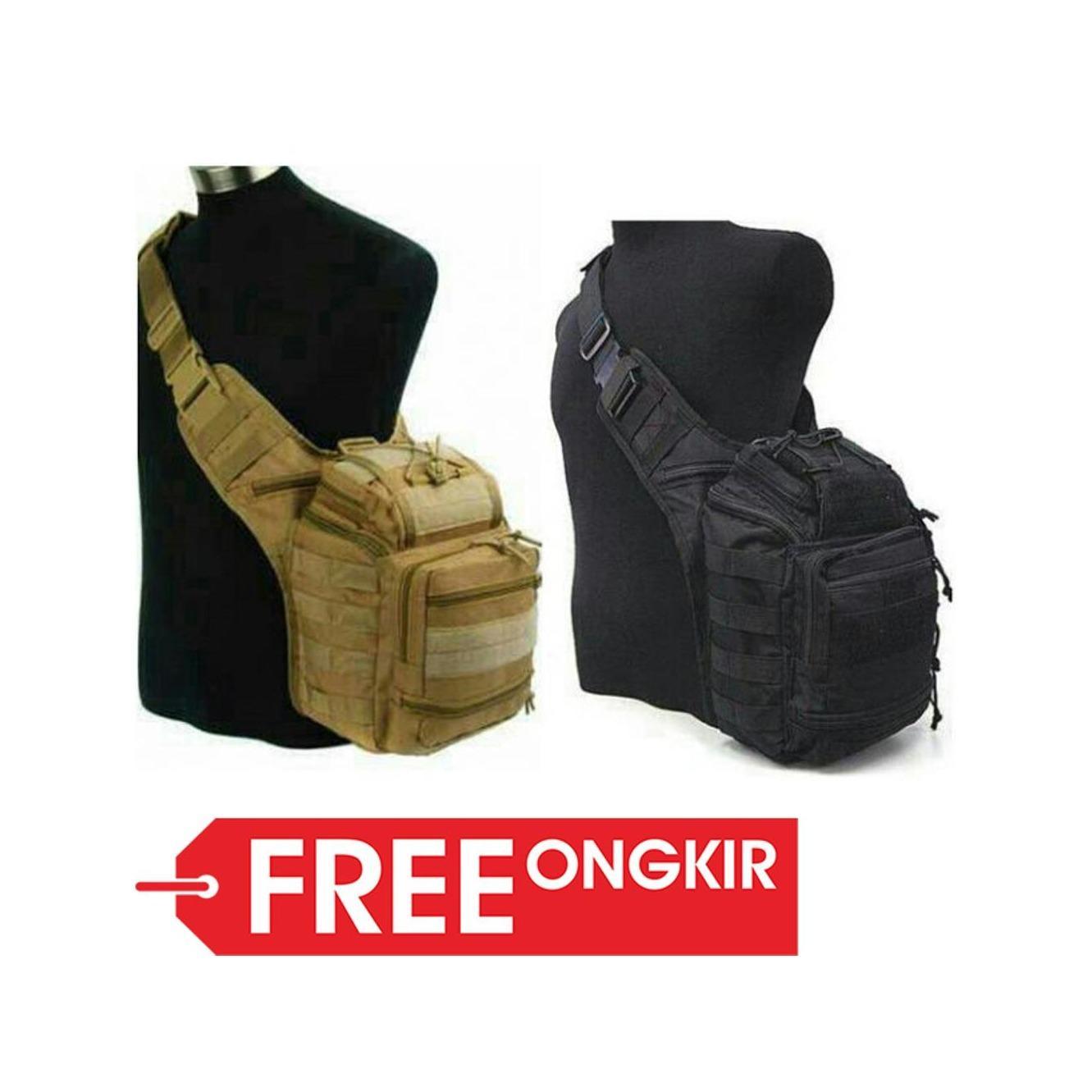 PROMO Tas Army Selempang Tactical Pria Type 803 Import (Side Bag, Militer, Polisi, Gurun, Tan, Pinggang, Kamera, Outdoor, Sport)