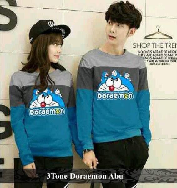 BajuCouple - Kaos Pasangan Lengan Panjang - Baju Couple 3tone Doraemon [Abu]