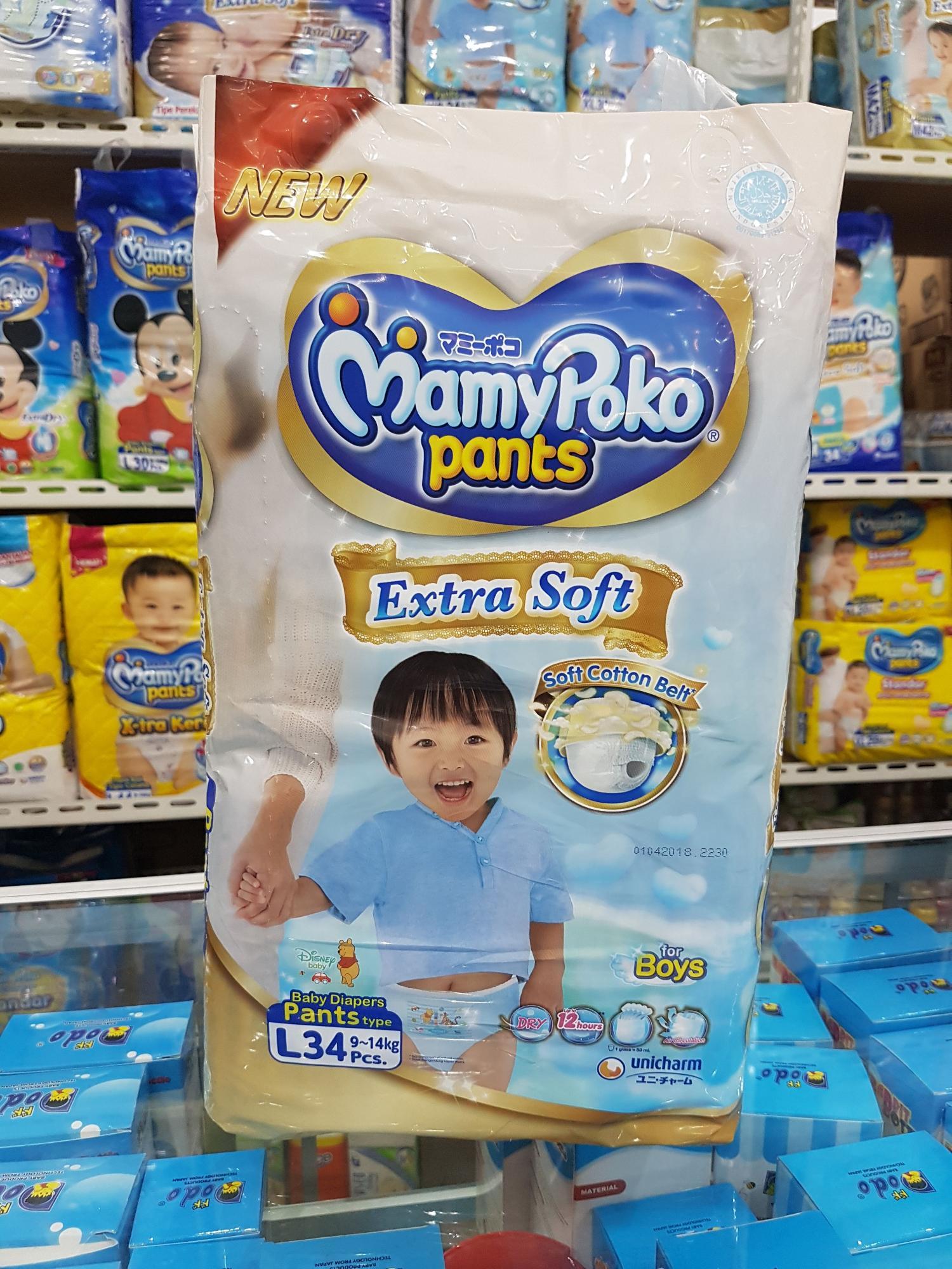 Kelebihan Mamy Poko Np801 Mamypoko Pants Extrasoft Boys L28 Extra Soft Xl 30 Girls L34 Boy