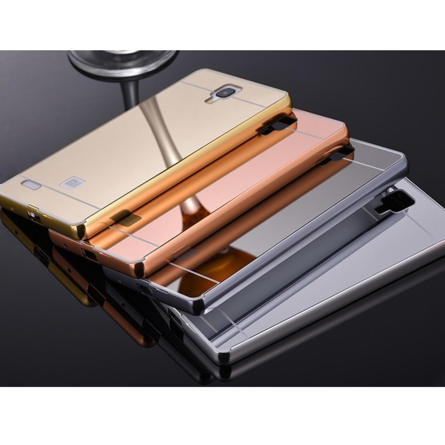 Fitur Aluminium Tempered Glass Hard Case Casing Cover Hp Xiaomi Bumper Mirror Redmi Note 4 Back Hflb Mi 1 3g 4g