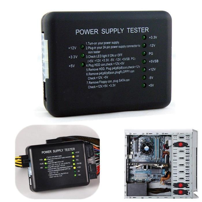 Komputer PC Power PSU Tester LED 20/24 Pin Port ATX BTX ITX SATA HDD