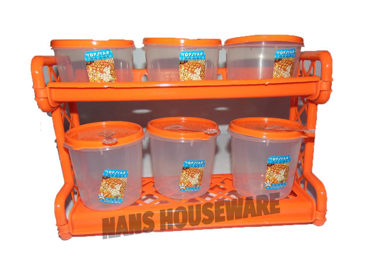 Rak Bumbu Susun / Wadah Bumbu Susun / Perlengkapan Dapur Memasak (6pc + Rak bumbu