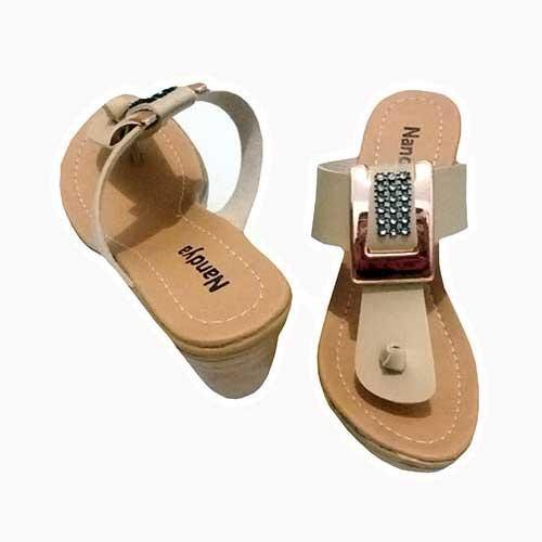 Detail Gambar Sandal Wedges Oren's - Krem Terkini