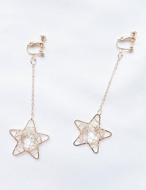 LRC Anting Jepit Fashion Gold Color Star Shape Decorated Earrings