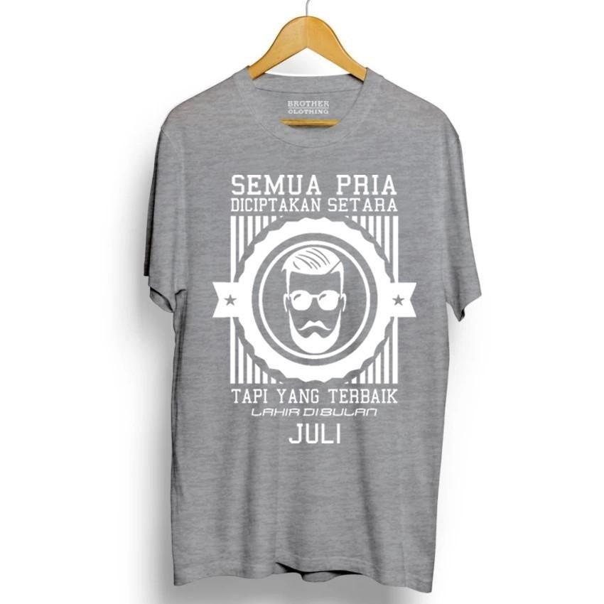 Kaos Distro Pria Terbaik Lahir Juli White - Abu Misty Premium
