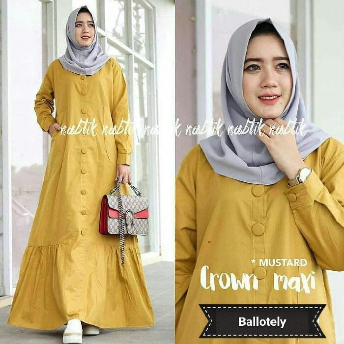 Spesifikasi Fjco Crown Maxy Maxi Dress Dress Muslimah Pakaian Muslimah Baju Muslimah Hijab Style Setelan Muslim Fashion Muslimah Fjco