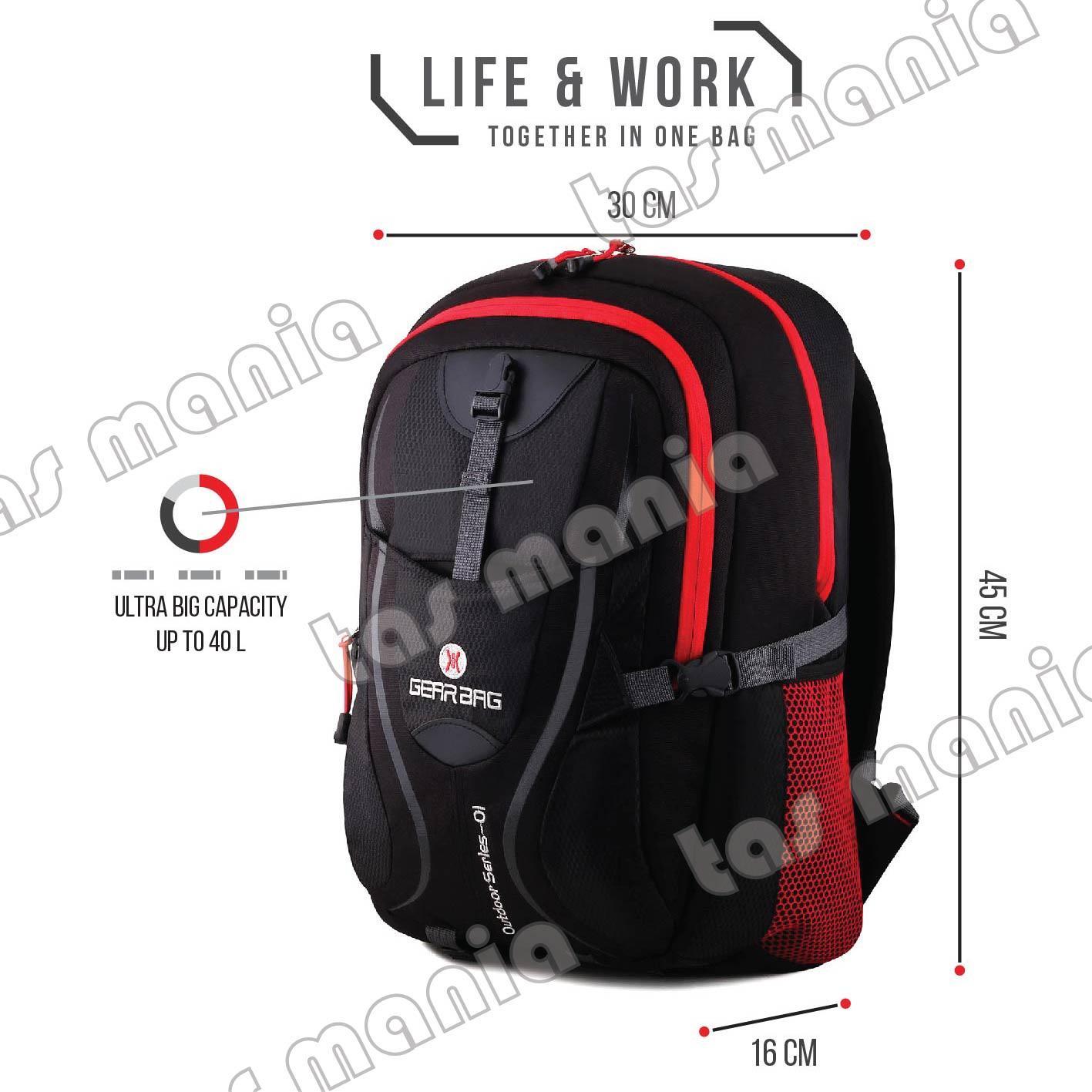 Tas Ransel Gear Bag - Scorpion X87 Tas Laptop Backpack - Black Red .