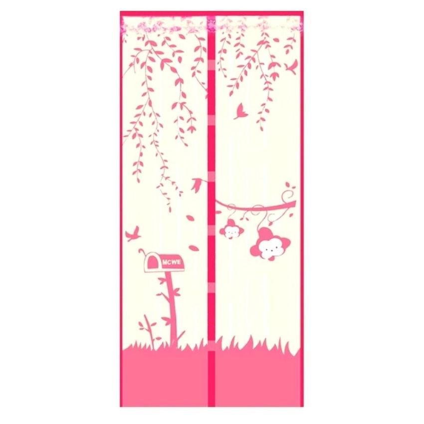 Tirai Magnet Anti Nyamuk Motif Monkey Garden - Pink