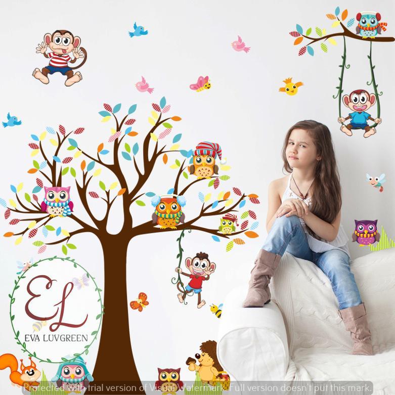 Detail Gambar Eva Luvgreen Wallsticker Anak Pohon Owl Monkey Ukuran 60x90cm/ Stiker Dinding/ Stiker Tembok/ Wallpaper Sticker/ Wall Paper Sticker/ Wall ...