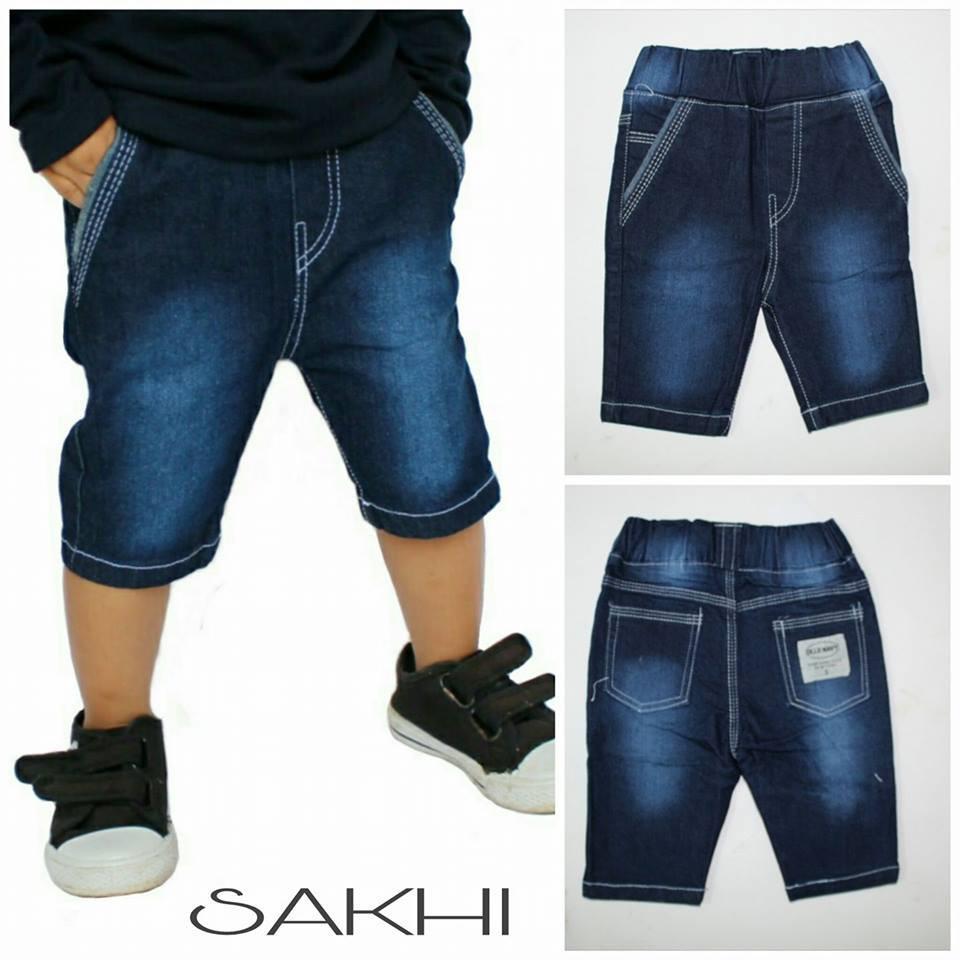celana pendek anak laki laki bahan jeans warna navi