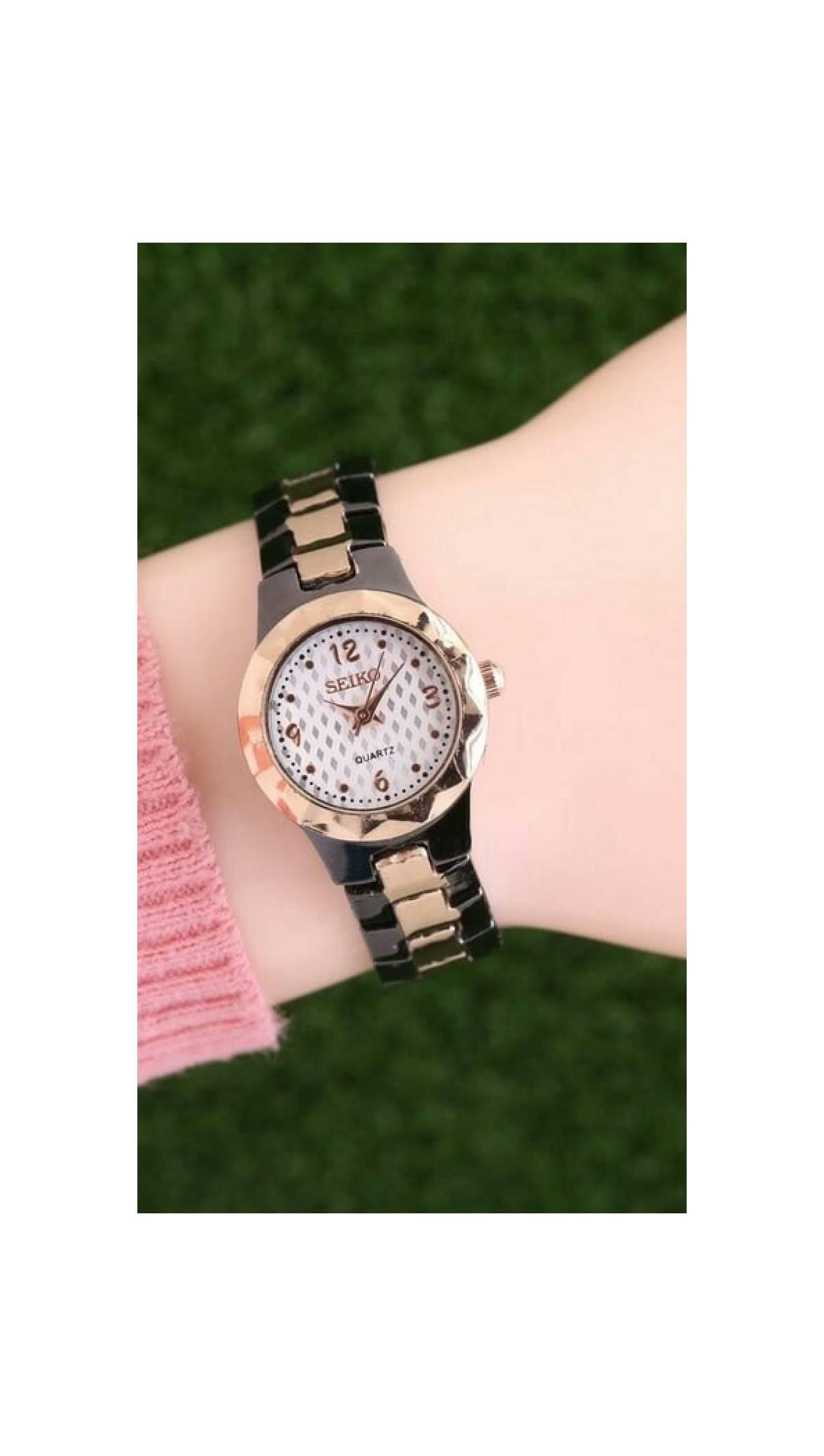 jam tangan wanita hitam gold emas black seiko merk kw bagus keren