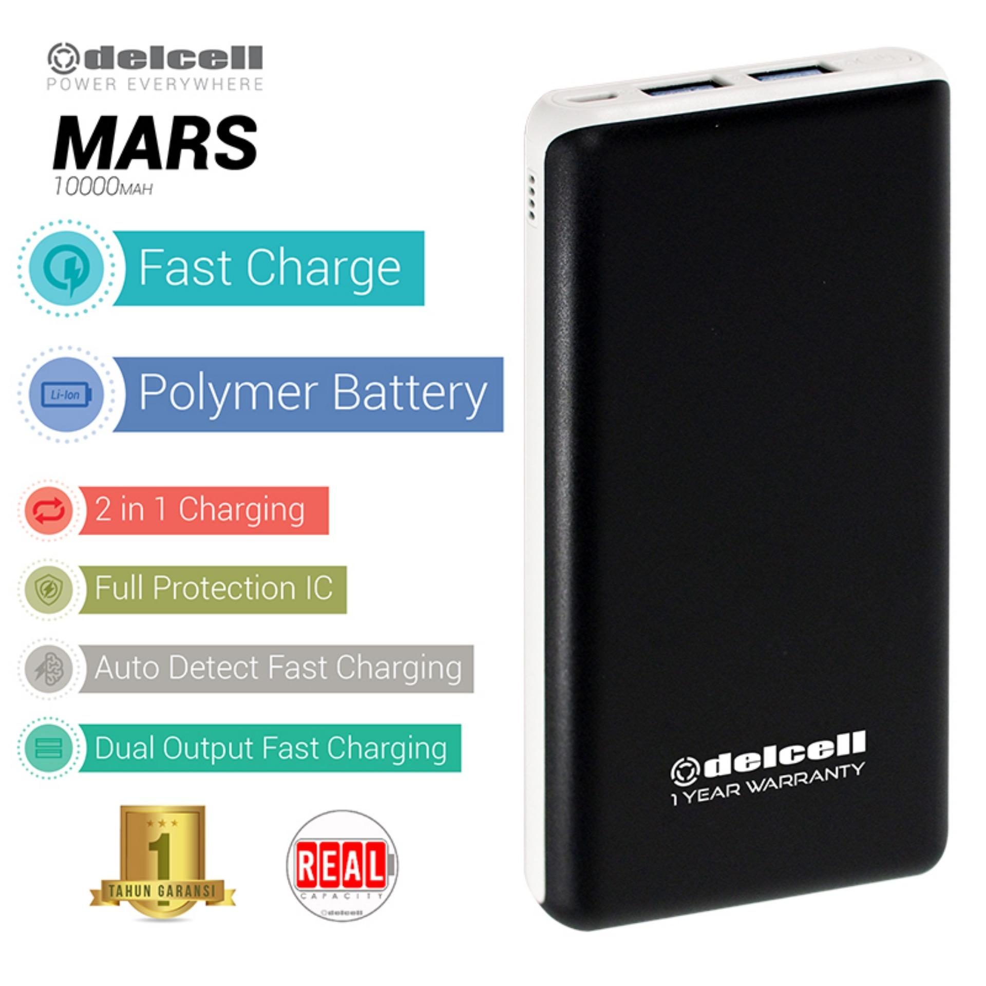 Delcell 10000mAh Powerbank MARS Real Capacity Fast Charging Slim Powerbank Polymer Battery Dual Output Garansi Resmi