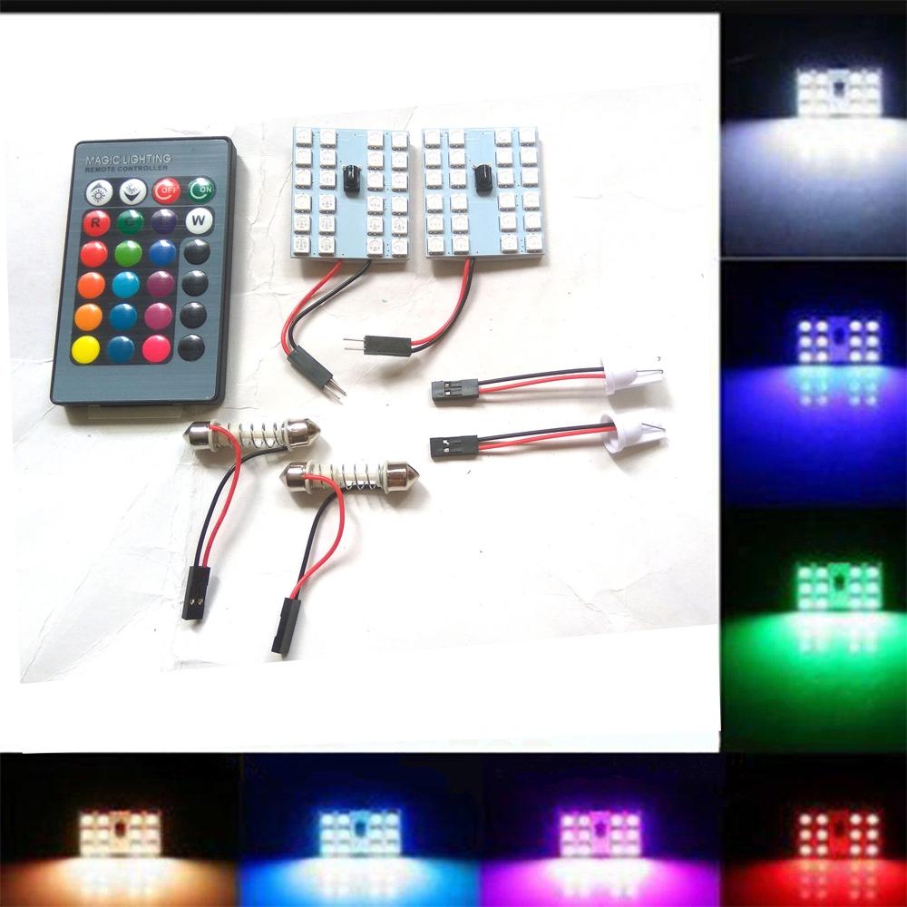 Fitur 100w 10000lm Putih Rgb Smd Led Chip Banjir Cahaya Lampu Bead Fog Light Mobil H3 T10 5630 2pcs Plafon Kabin Plasma 5050 Remote Wireless