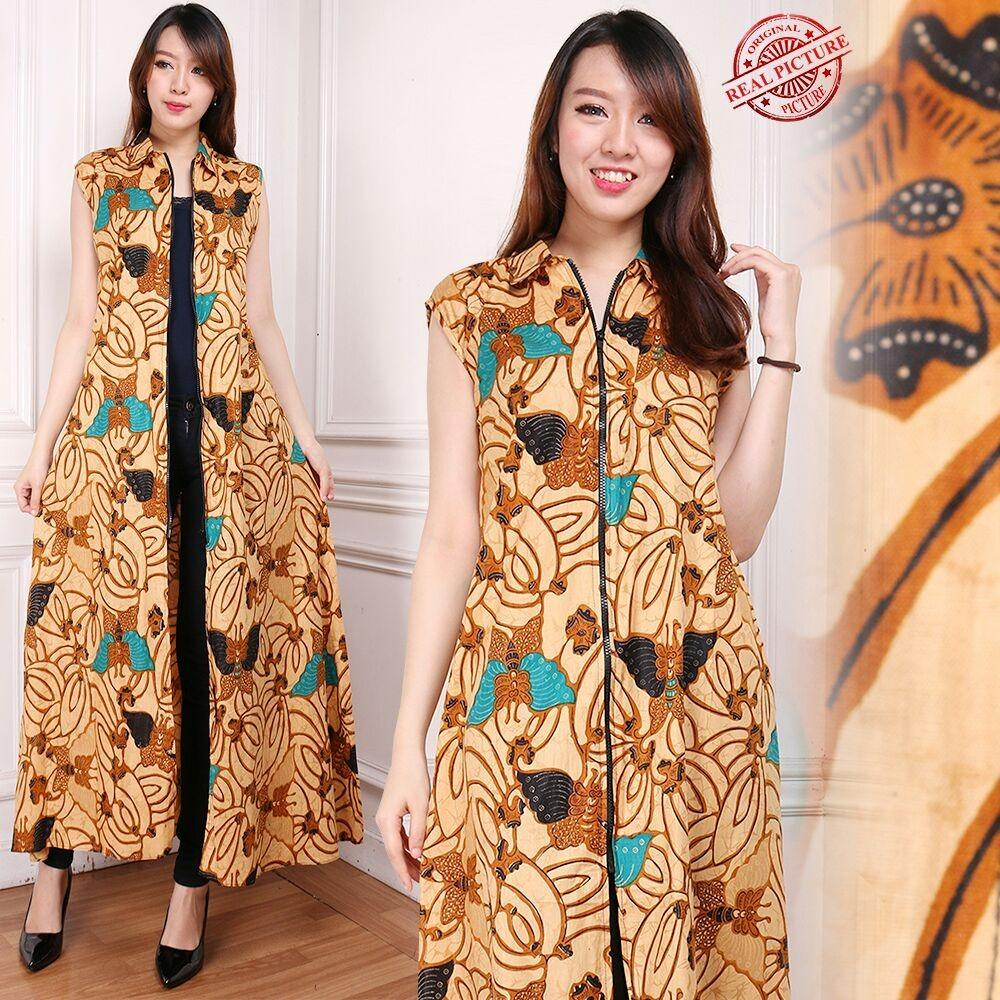 Beli Cj Collection Blazer 2In1 Batik Dress Maxi Panjang Atasan Blouse Long Tunik Kemeja Wanita Jumbo Shirt Long Dress Naina Cicilan