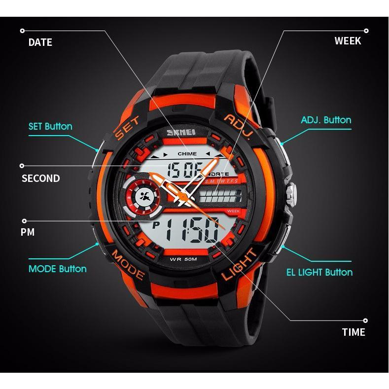 SKMEI Men Sport LED Dual Time Watch Anti Air Water Resistant WR 50m .