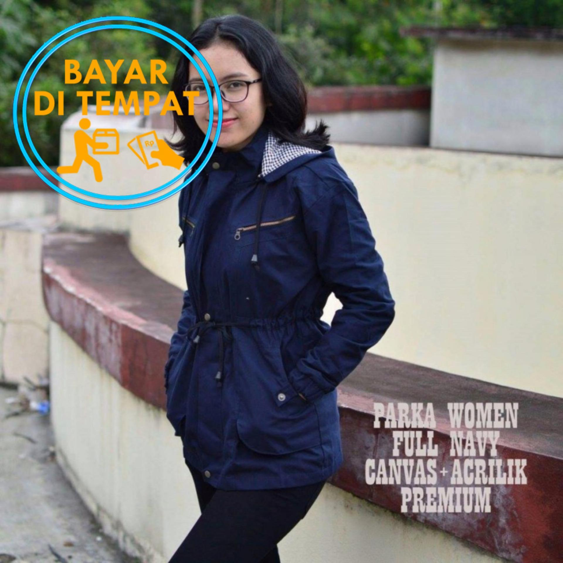 Harga Parka Wanita Murah Zipper Premium Navy Biru Dongker Di Indonesia