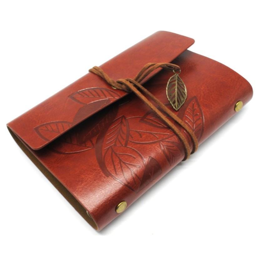 Vienna Linz Buku Catatan Binder Kulit Retro Leaf Kertas A5 Agenda Kuliah Stationary Diary Book Note