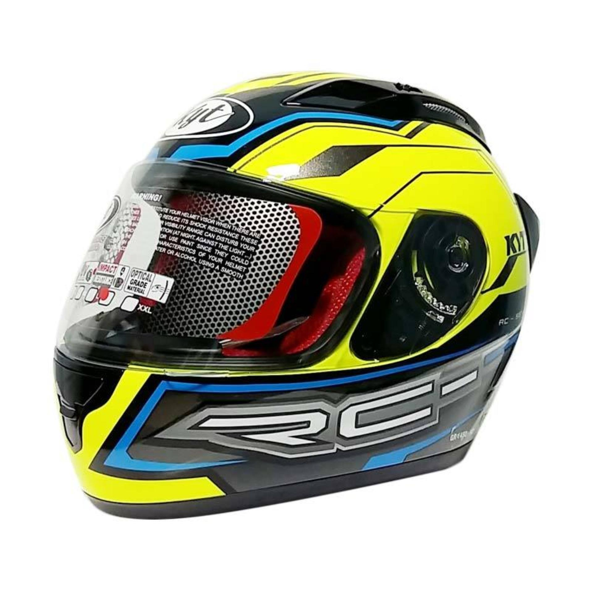 Toko Kyt Rc Seven 14 Helm Full Face Yellow Blue Black Online Terpercaya