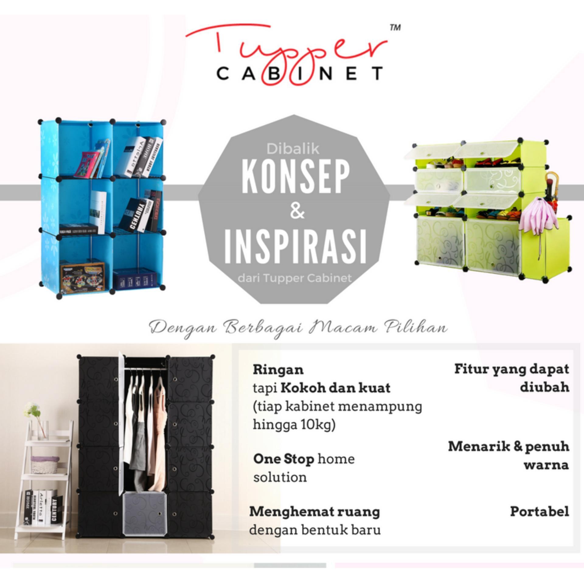 [Original] Tupper Cabinet DIY 12 Pintu Lemari Modern Korean Desain - Elegant Black - 4