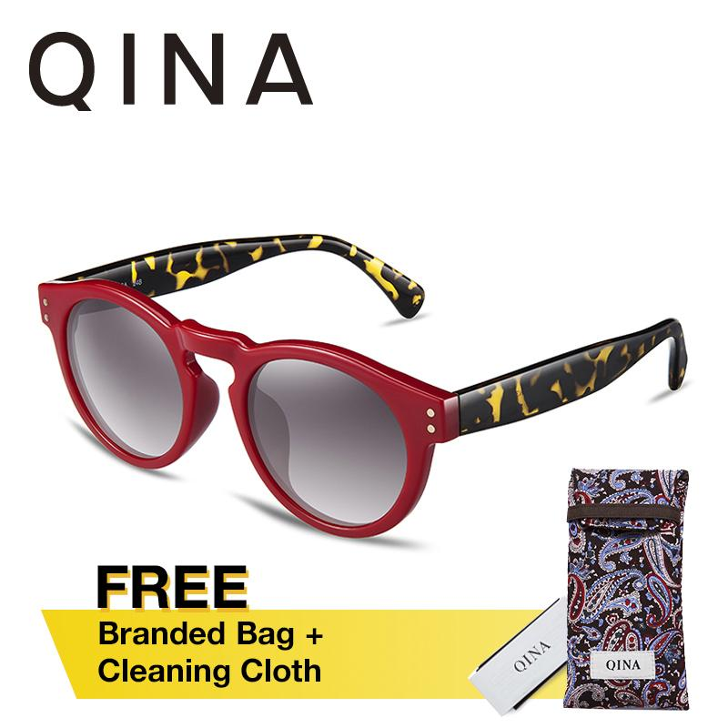 Toko Qina Terpolarisasi Wanita Magenta Sunglasses Kura Kura Temple Arms Round Uv 400 Protection Grey Lensa Qn3502 Di Hong Kong Sar Tiongkok