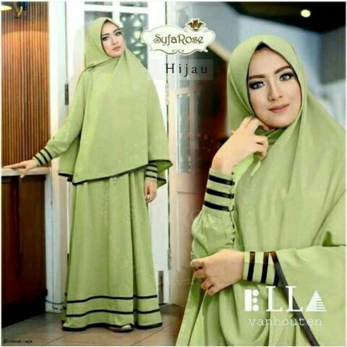Kenzmal- Maxi Gamis Dress Baju Muslim Wanita Syari Saifanah Hijau Muda