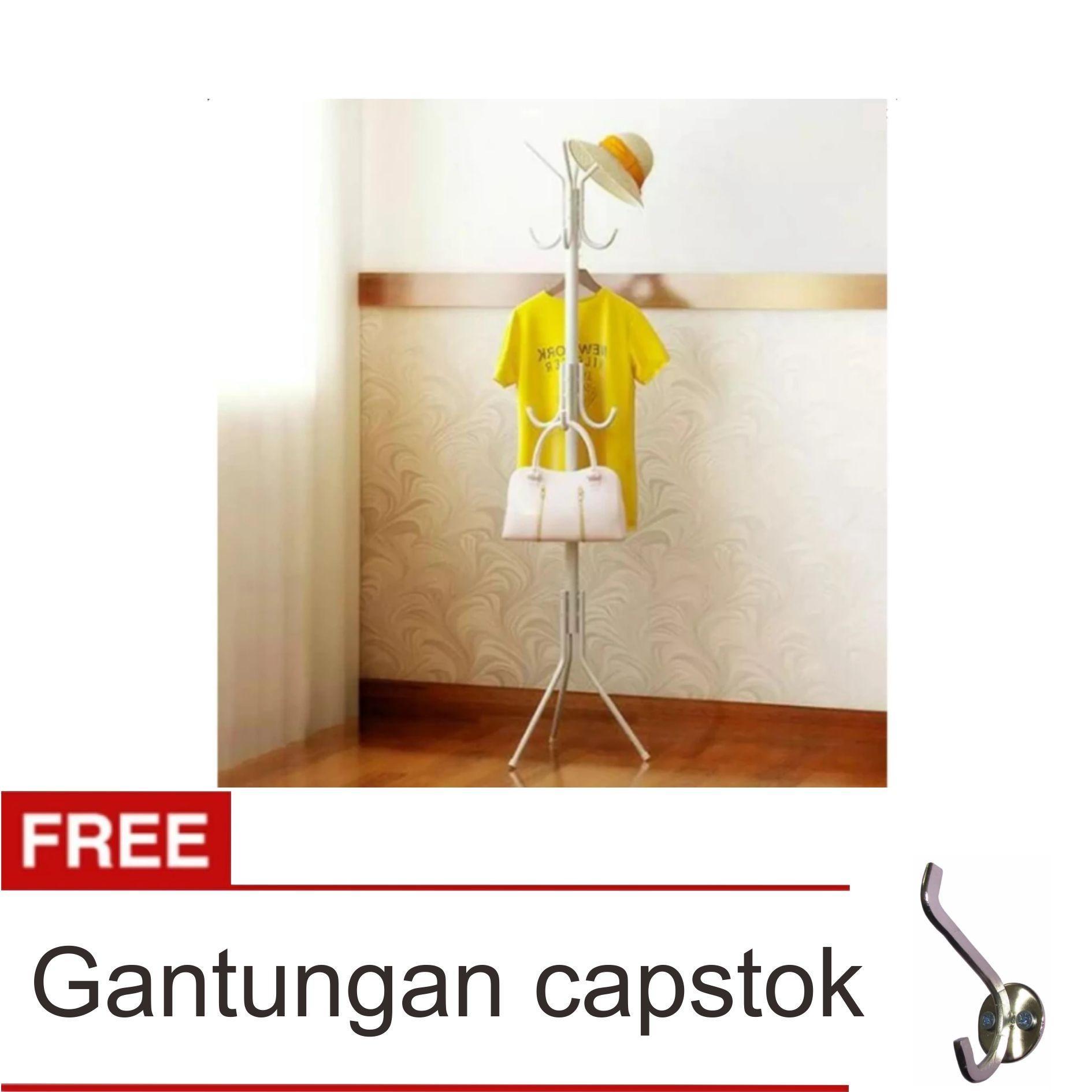 Lanjarjaya Gantungan Baju Standing Hanger / Multifunction Stand Hanger - Putih + Gantungan Capstok