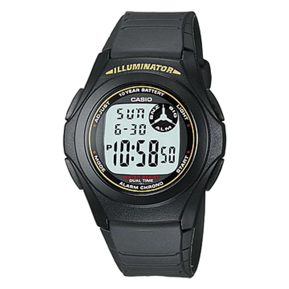 CASIO F-200W-9ADF - Digital - Illuminator - Dual Time - Jam Tangan Pria - Bahan Tali Resin - Black