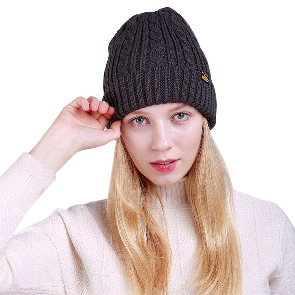 Detail Gambar Wanita Hangat Longgar Menenun Crochet Musim Dingin Wol Topi Kupluk Ski Rajut Topi Tengkorak