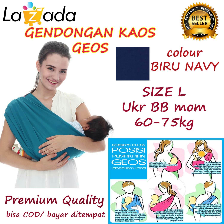BABY CHERYL PREMIUM GENDONGAN Bayi Kaos/Geos/selendang Bayi Praktis Ukuran L - BIRU