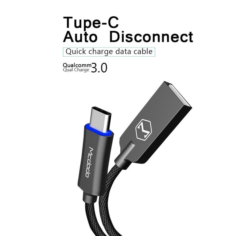 Auto Disconnect Type C Kabel Data USB For Android Charger Mcdodo ORI - BLACK