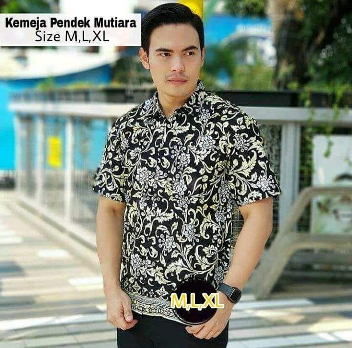 king's kemeja batik prada abu emas pendek