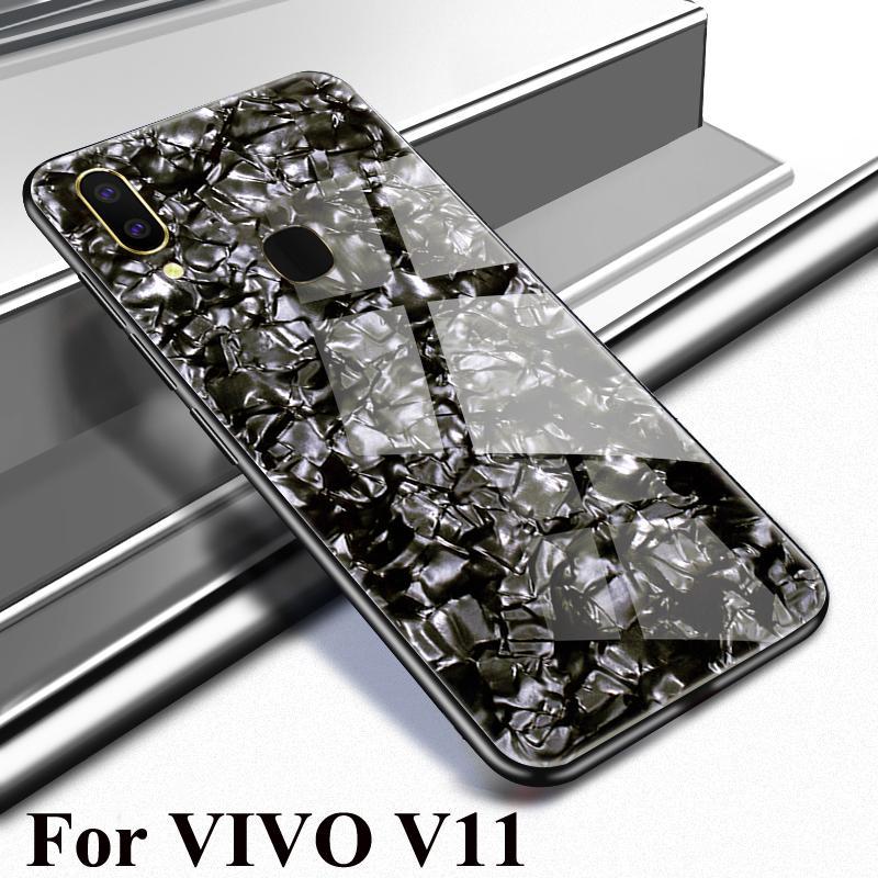 HP Casing untuk VIVO V11 Keras Marmer Kaca Antigores Kembali Casing Kover