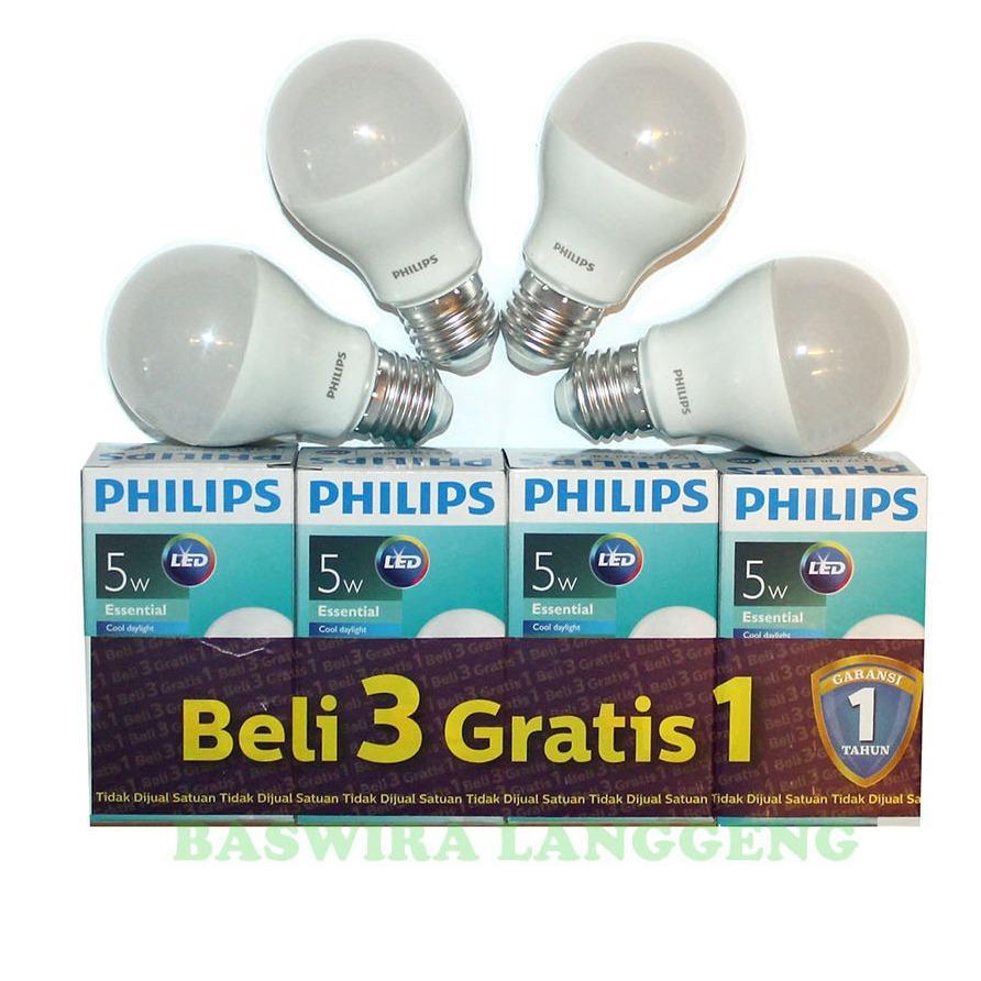 PHILIPS Lampu Led Bulb Essential 5 Watt 5 W 5Wat 5W Putih Paket 4 pcs
