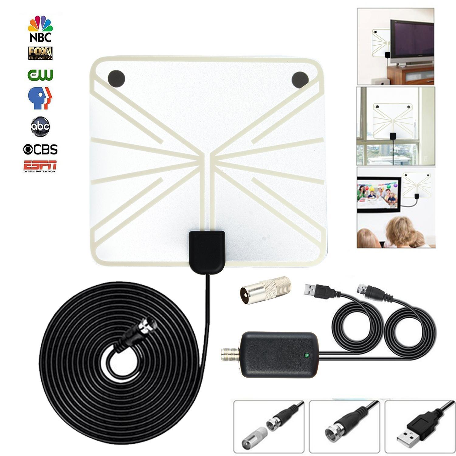 leegoal Universal TV Antenna, Indoor Digital HDTV Antenna Amplified 75 Mile Range 4K HD VHF UHF Freeview For Life Local Channels Broadcast For All Types Of Home Smart Television - intl