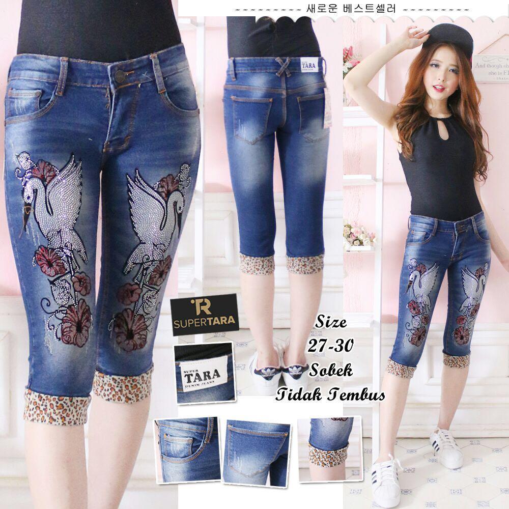 BNTG Celana Jeans 7/8 Wanita Motif Bangau.