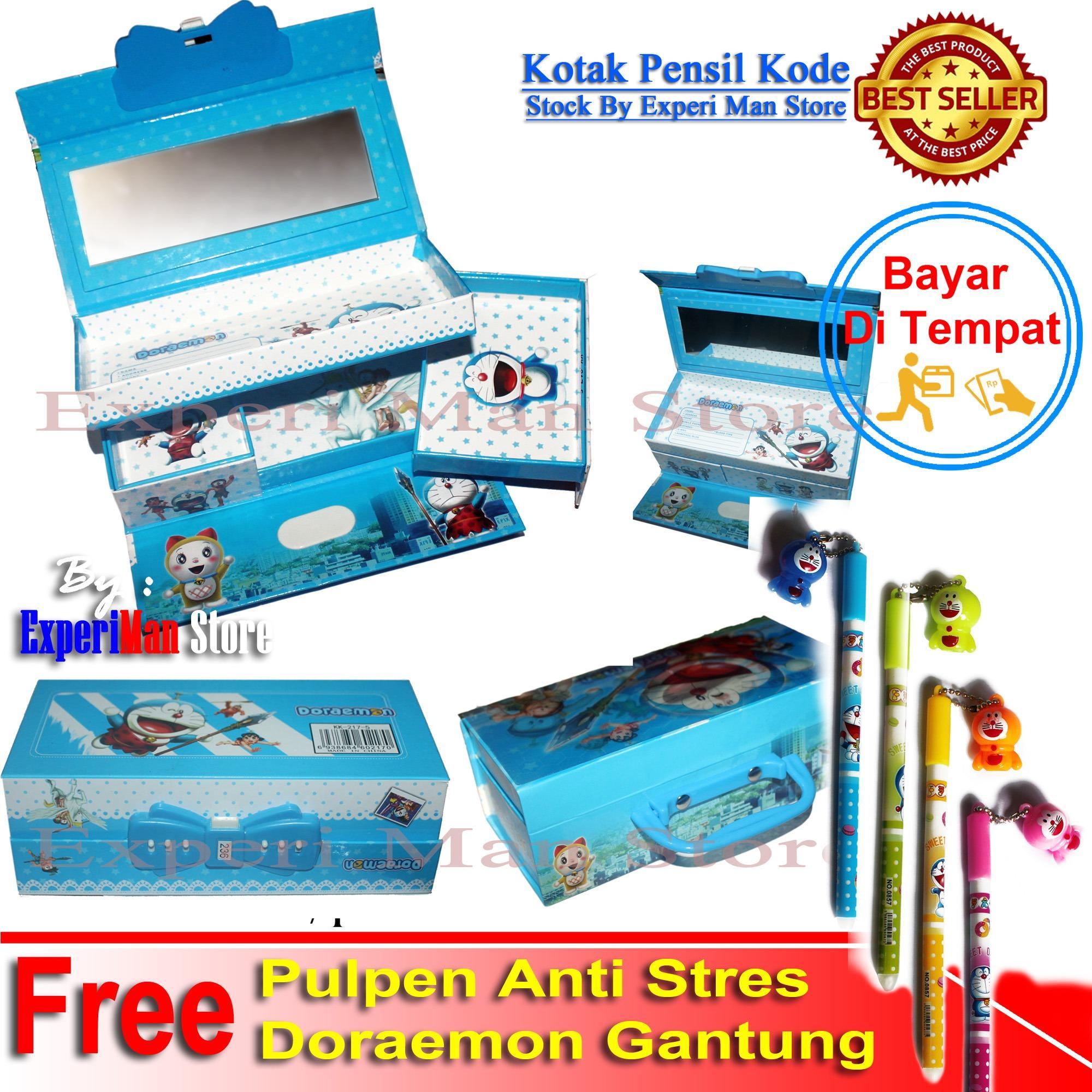 Kotak Pensil Kode Model Doraemon Free Pulpen Doraemon Gantungan anti stres - ExperiMan Store