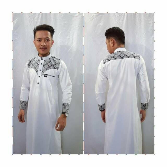 Gamis Aljar Kombinasi Putih / Busana Muslim Pria / Gamis Jubah / Slim Aj Banjarmasin
