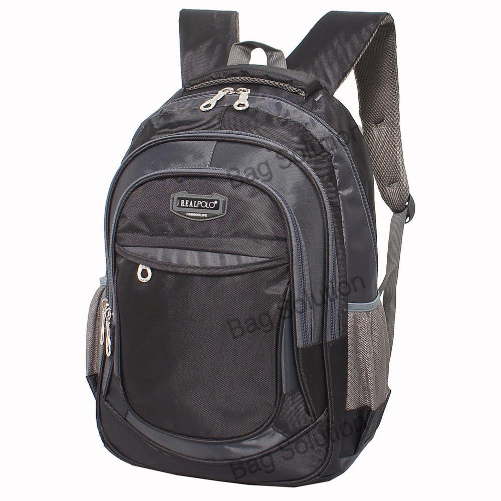 Real Polo Tas Ransel Kasual - Tas Pria Tas Wanita FCGC Backpack Daypack - Hitam - 2
