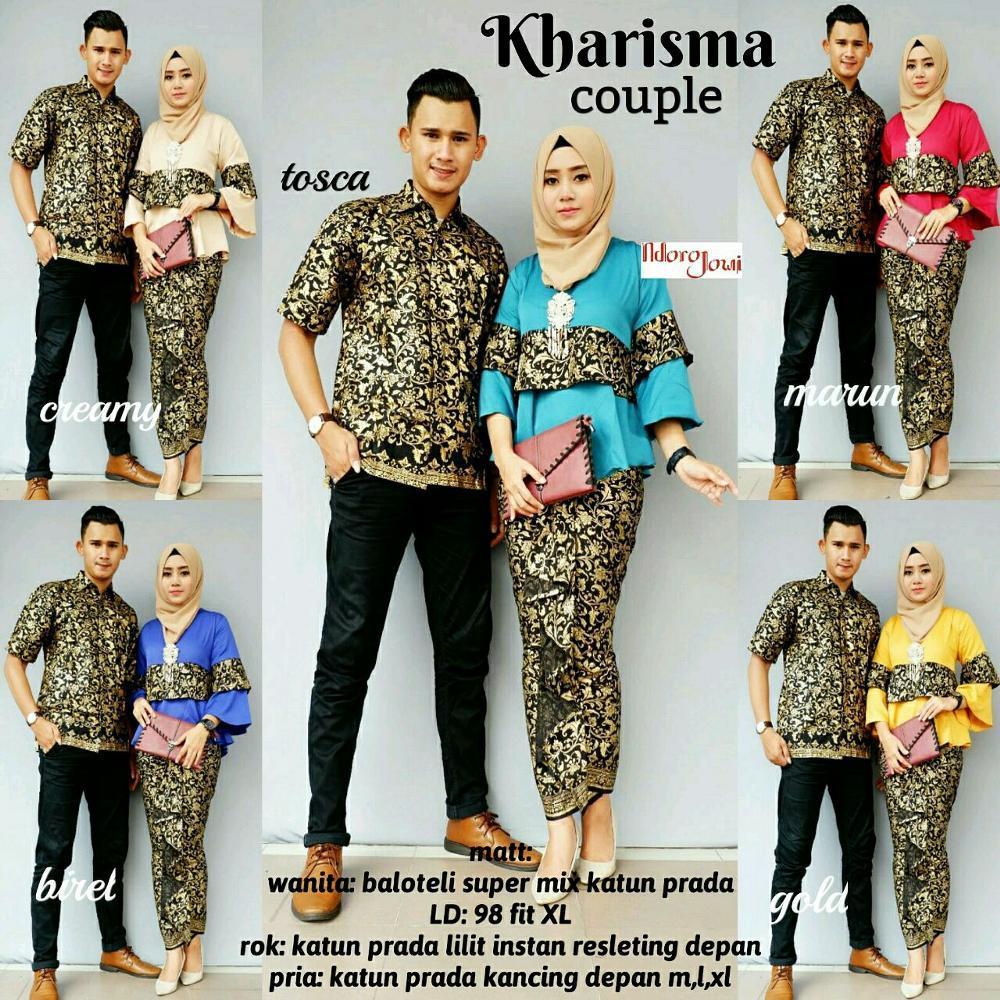 Couple Batik Sarimbit Baju Pasangan Ruffle Rok Lilit