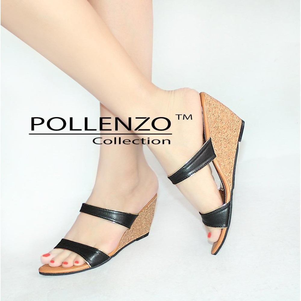 Jual Pollenzo Wedges Sandal Deyent Double Strap Pollenzo Murah