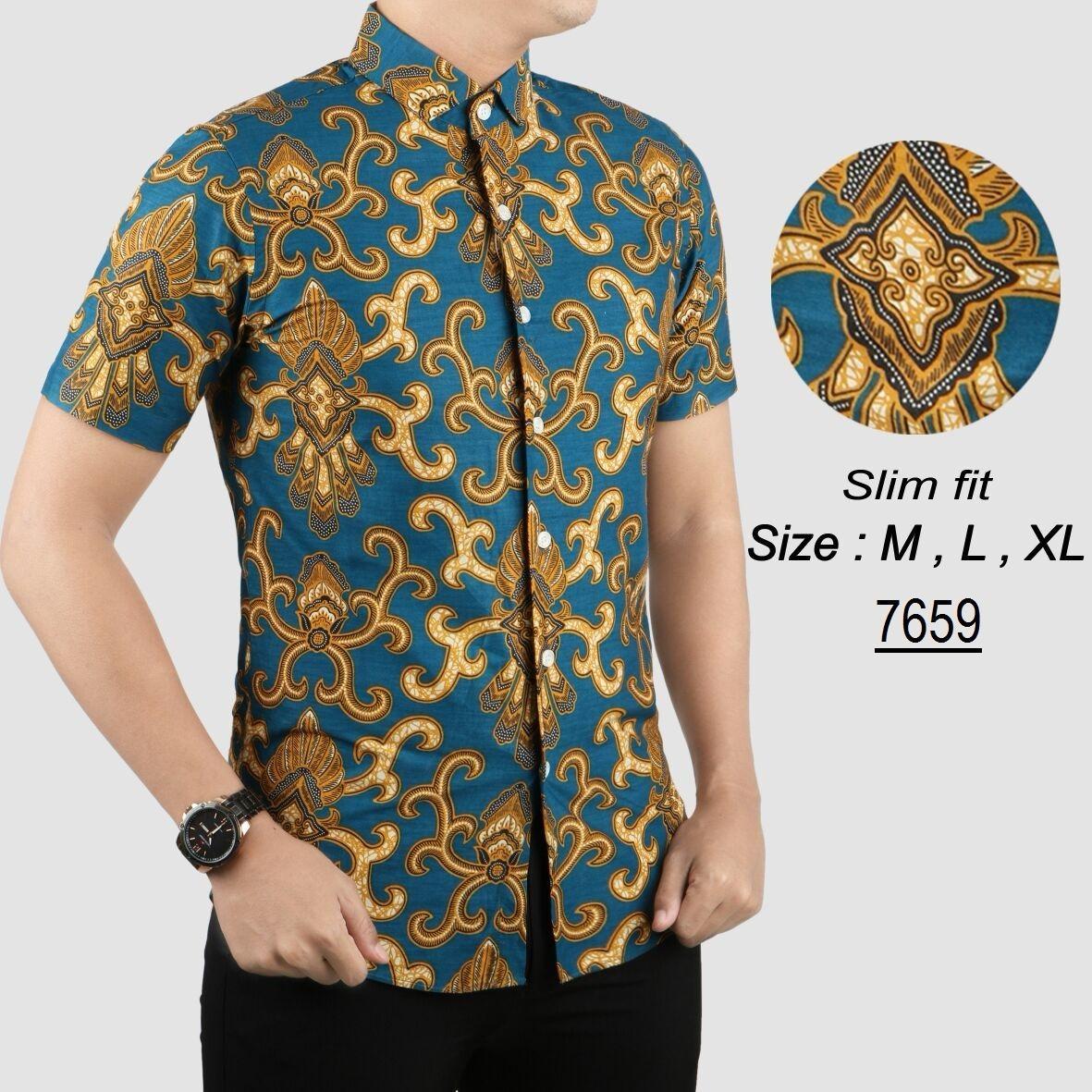 Jual Baju Batik Modern Kemeja Pria Slim Fit 7659 Termurah